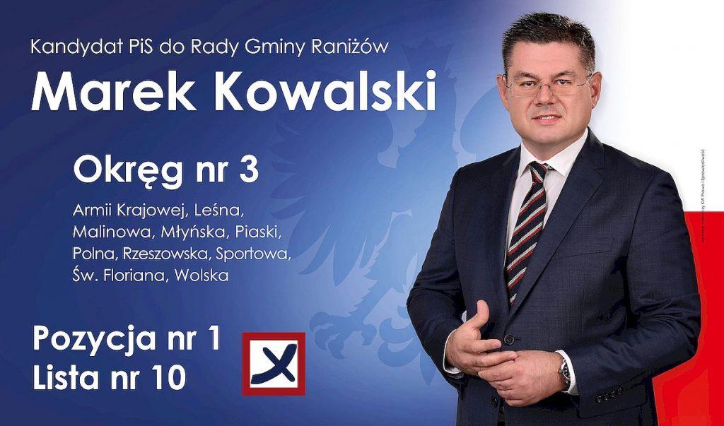 Kandydat PiS do Rady Gminy Raniżów - Marek Kowalski, okręg nr 3